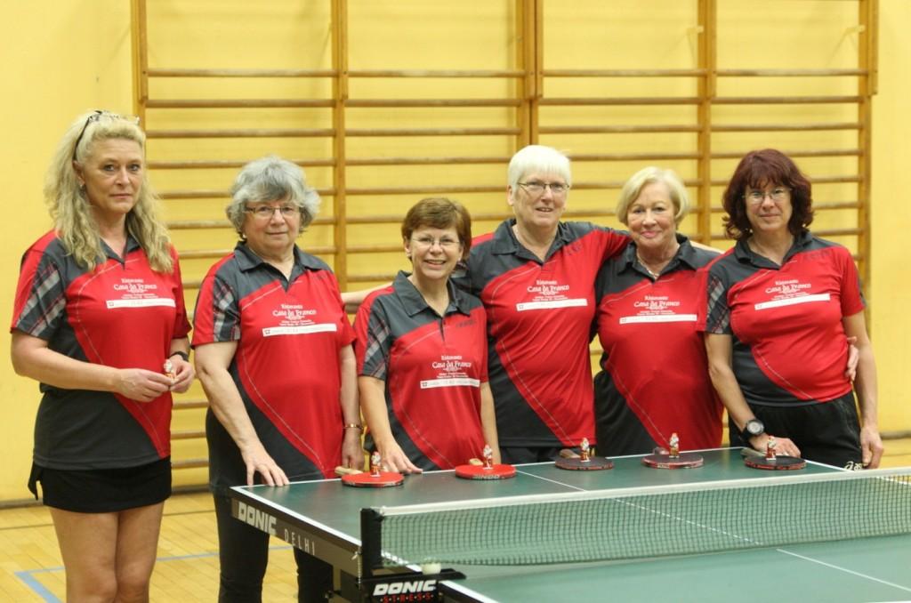 Aufstellung der Senioren 3 als reine Damenmannschaft (v.l.n.r.): Heike Angel, Erika Grehl, Silvia Zapp, Jutta Braun, Ursula Rosport und Heike Angel